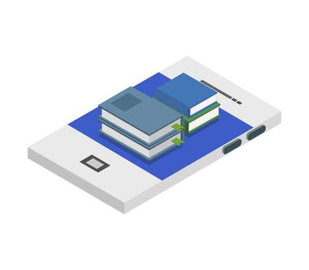 study online isometric illustration