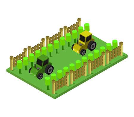 tractors on isometric field