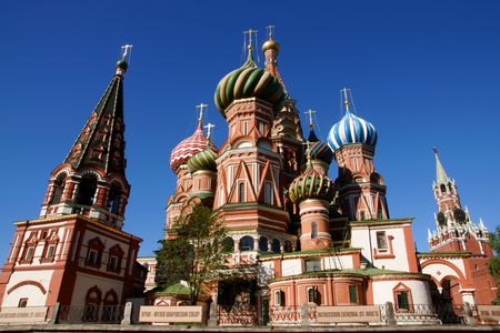 Saint Basils Cathedral in Red square in Moscow  photo