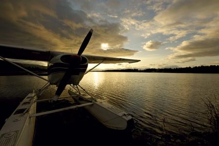 homer: Close-up of seaplane during sunrise in Homer, Alaska
