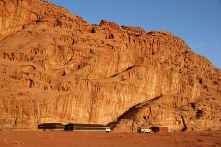 Tended camp in Wadi Rum desert, Jordan photo