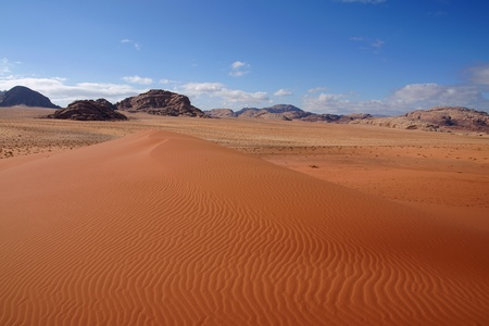 View from a dune in Wadi Rum desert, Jordan photo