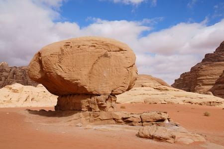 Mushroom rock in Wadi Rum desert, Jordan photo