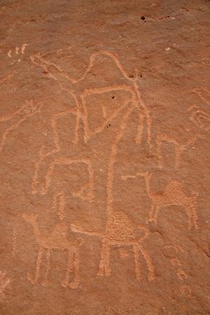 relics: Ancient drawing on the rock, Wadi Rum. Jordan