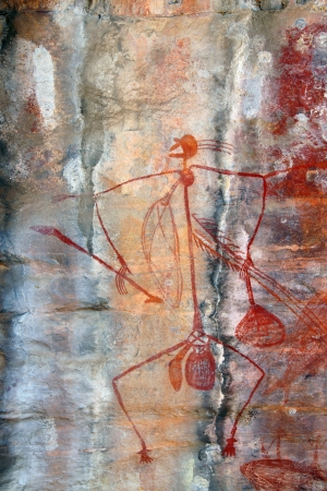 Ancient Mabuyo rock art in Ubirr, Australia photo