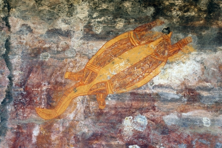Ancient turtle rock art in Ubirr, Australia photo