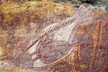 kakadu: Ancient fish rock art in Ubirr, Australia Stock Photo