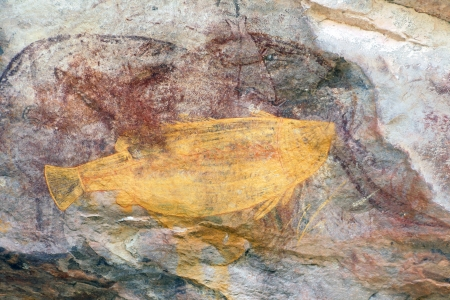 aborigines: Ancient fish rock art in Ubirr, Australia Stock Photo