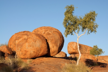 Devils marbles, strange rock formation in Australia photo