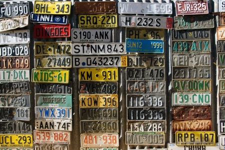 memorabilia: Old number plates on the wall in Australia
