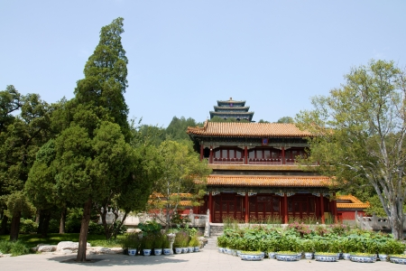 people's cultural palace: View of Wanchun pavilion from Jingshan Park Stock Photo