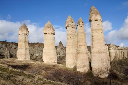 pene: Paesaggio di pinnacoli in Love Valley vicino a Goreme, Turchia