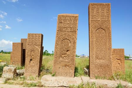 seljuk: Old gravestones in Ahlat Seljuk near Van lake, Turkey Stock Photo