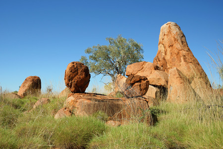 Boulders rock formation near Great Northern Hwy, Australia Stock Photo