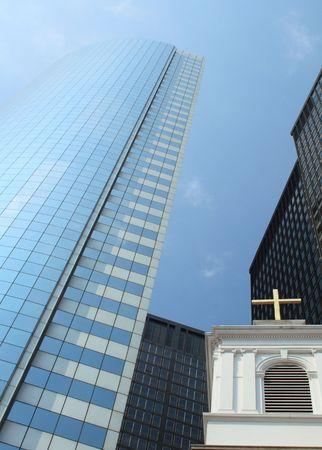 Church between skyscrapers