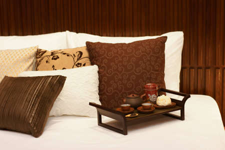 Tea time on bed Stock Photo - 13614060