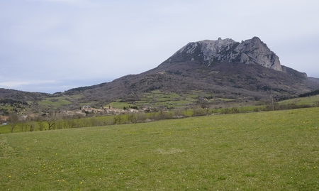 cataclysm: The village of Bugarach and the Pic de Bugarach, a mystical place in the Languedoc - Roussillon, France