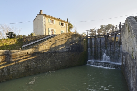 canal lock: View of a lock on the Canal du Midi, Carcassonne, Languedoc-Roussillon, France Stock Photo