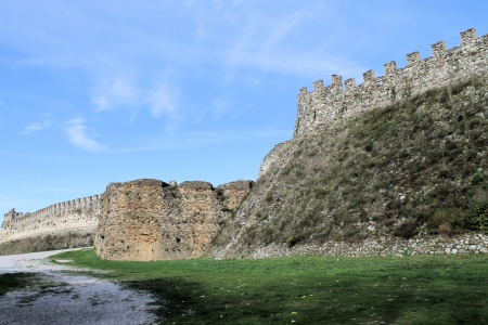 crenellated: ancient defenses of a castle on Lake Garda in Itaila
