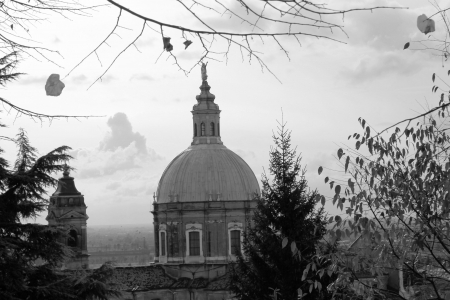 dome of the old cathedral in Italy in black and white photo