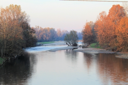 view of sunset on the river photo