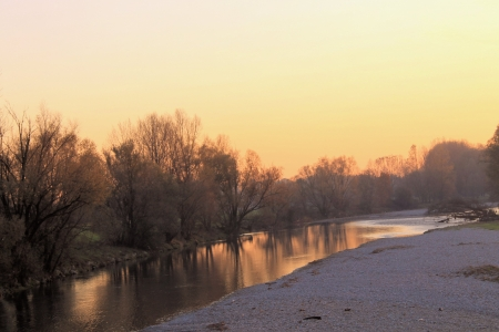landscape in Italy with the sunset on the river photo
