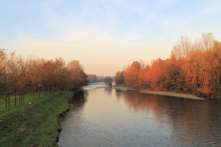 landscape of sunset on the river photo