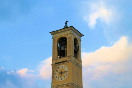humanistic: detail of the bell tower of the cathedral in a town in northern Italy
