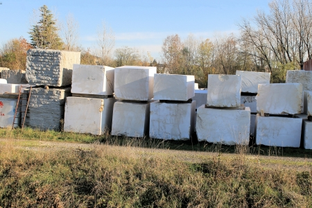 marble blocks stacked near the quarries photo