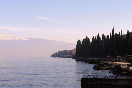 landscape of Lake Garda in winter photo