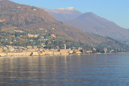 Landscape of Lake Garda in Italy in winter photo