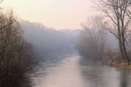 river with fog photo