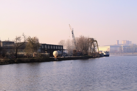 industries that are on the river bank photo