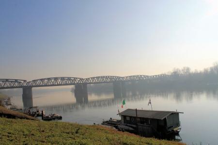 the po valley: bridge in the fog Stock Photo
