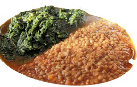 dish of lentils and spinach photo