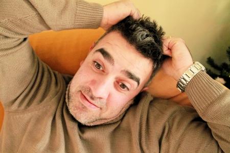 man with scratch head Zdjęcie Seryjne