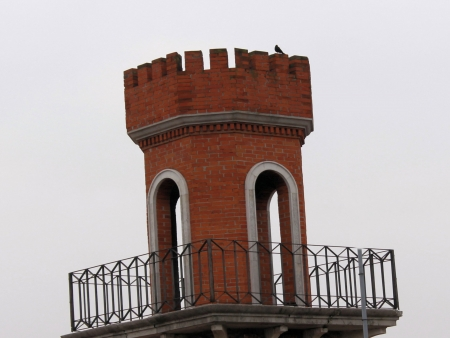 turret brick in a city in northern Italy