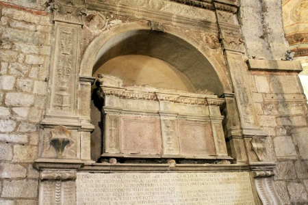 sepulcher: ancient sarcophagus inside a cathedral in Italy