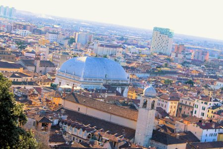 arial views: Brescia, northern Italy city view from above