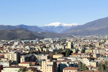 Brescia, northern Italy city view from above