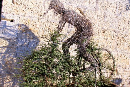 extremal: Carved figure of a cyclist in a bush with topiary