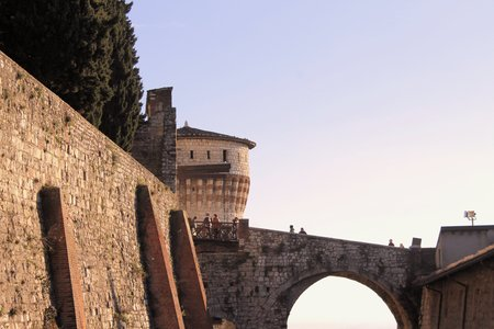 prominence: architectural detail of the medieval castle in Italy
