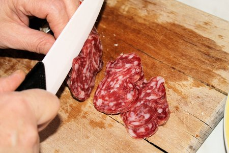 cutting salami  photo