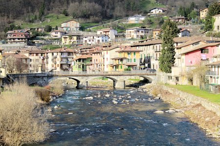 landscape of the bridge over the river in  Sabbia Valley  in northern Italy photo