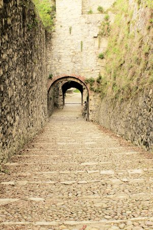 old stairs that lead to the castle gallery