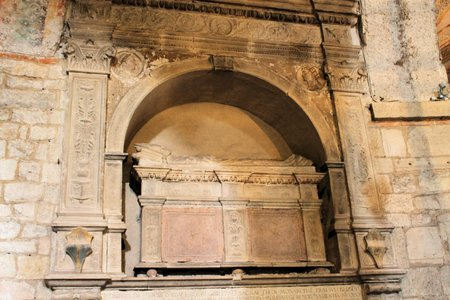 medioeval: sarcophagus inside a medieval church in Italy