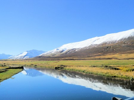 natural landscape with mountains in iceland  photo