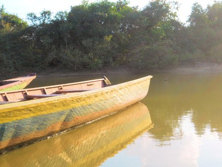 skiff: Typical boats used by American Indian Stock Photo