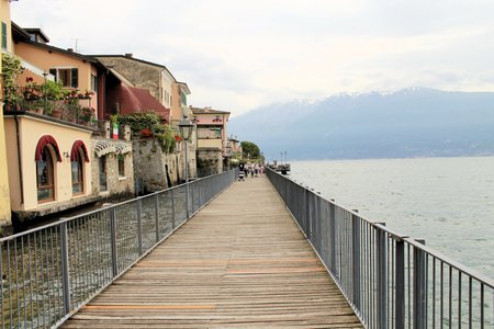 promenade in Gargnano on Garda lake in northern Italy Stock Photo