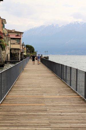 promenade in Gargnano on Garda lake in northern Italy photo